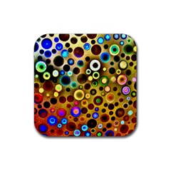 Colourful Circles Pattern Rubber Coaster (square)  by Costasonlineshop