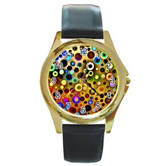 Colourful Circles Pattern Round Gold Metal Watches by Costasonlineshop