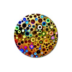 Colourful Circles Pattern Magnet 3  (round) by Costasonlineshop