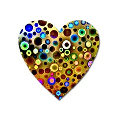 Colourful Circles Pattern Heart Magnet by Costasonlineshop