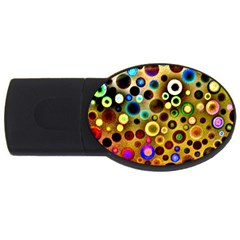 Colourful Circles Pattern Usb Flash Drive Oval (2 Gb)  by Costasonlineshop