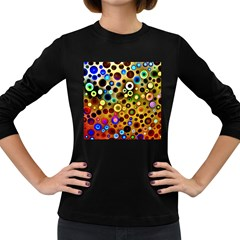 Colourful Circles Pattern Women s Long Sleeve Dark T Shirts by Costasonlineshop