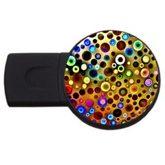 Colourful Circles Pattern Usb Flash Drive Round (4 Gb)  by Costasonlineshop