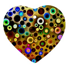 Colourful Circles Pattern Heart Ornament (2 Sides) by Costasonlineshop