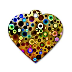 Colourful Circles Pattern Dog Tag Heart (two Sides) by Costasonlineshop