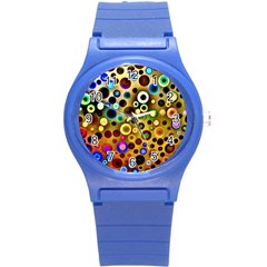 Colourful Circles Pattern Round Plastic Sport Watch (s) by Costasonlineshop