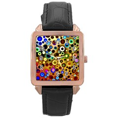 Colourful Circles Pattern Rose Gold Watches by Costasonlineshop