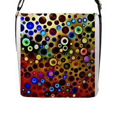 Colourful Circles Pattern Flap Messenger Bag (l)  by Costasonlineshop