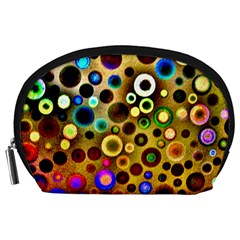 Colourful Circles Pattern Accessory Pouches (large)  by Costasonlineshop