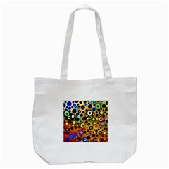 Colourful Circles Pattern Tote Bag (white)  by Costasonlineshop