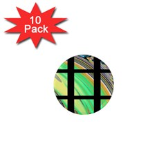 Black Window With Colorful Tiles 1  Mini Magnet (10 Pack)  by theunrulyartist