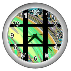 Black Window With Colorful Tiles Wall Clocks (silver)  by digitaldivadesigns