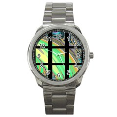 Black Window With Colorful Tiles Sport Metal Watches by theunrulyartist