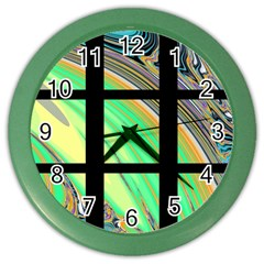 Black Window With Colorful Tiles Color Wall Clocks by digitaldivadesigns
