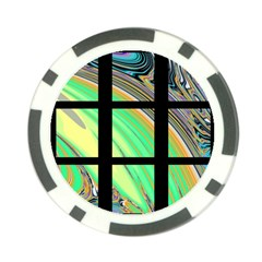 Black Window With Colorful Tiles Poker Chip Card Guards by theunrulyartist