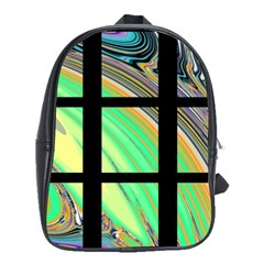 Black Window With Colorful Tiles School Bags(large)  by theunrulyartist