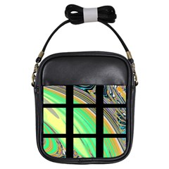 Black Window With Colorful Tiles Girls Sling Bags by theunrulyartist