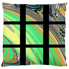 Black Window With Colorful Tiles Large Cushion Cases (two Sides)  by digitaldivadesigns