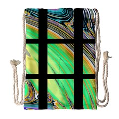Black Window With Colorful Tiles Drawstring Bag (large) by digitaldivadesigns