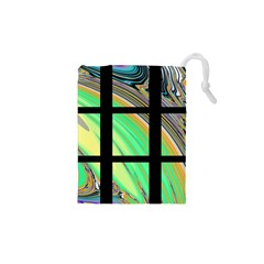 Black Window With Colorful Tiles Drawstring Pouches (xs)