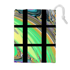 Black Window With Colorful Tiles Drawstring Pouches (extra Large)