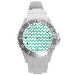 Chevron Pattern Gifts Round Plastic Sport Watch (l)