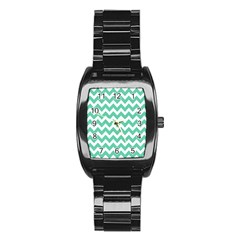 Chevron Pattern Gifts Stainless Steel Barrel Watch