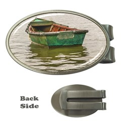 Old Fishing Boat At Santa Lucia River In Montevideo Money Clips (oval)  by dflcprints