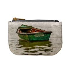 Old Fishing Boat At Santa Lucia River In Montevideo Mini Coin Purses by dflcprints
