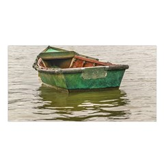 Old Fishing Boat At Santa Lucia River In Montevideo Satin Shawl by dflcprints