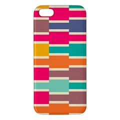 Connected Colorful Rectangles			apple Iphone 5 Premium Hardshell Case by LalyLauraFLM
