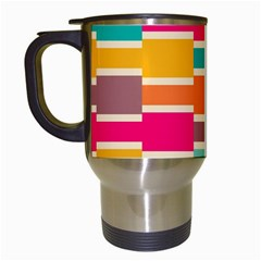 Connected Colorful Rectangles Travel Mug (white) by LalyLauraFLM