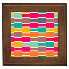 Connected Colorful Rectanglesframed Tile by LalyLauraFLM