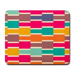 Connected Colorful Rectangles			large Mousepad by LalyLauraFLM
