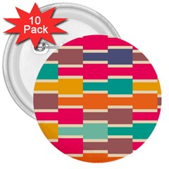 Connected Colorful Rectangles3  Button (10 Pack) by LalyLauraFLM
