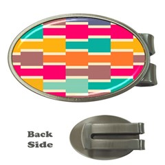 Connected Colorful Rectangles			money Clip (oval) by LalyLauraFLM