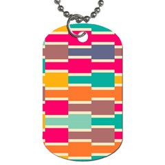 Connected Colorful Rectangles			dog Tag (one Side) by LalyLauraFLM