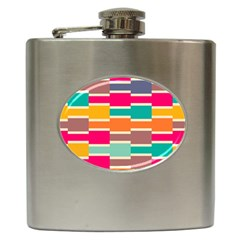 Connected Colorful Rectangles			hip Flask (6 Oz) by LalyLauraFLM