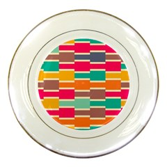Connected Colorful Rectangles			porcelain Plate by LalyLauraFLM
