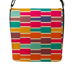 Connected Colorful Rectangles			flap Closure Messenger Bag (l) by LalyLauraFLM