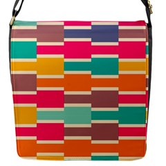 Connected Colorful Rectanglesflap Closure Messenger Bag (s) by LalyLauraFLM