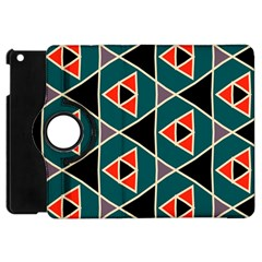 Triangles In Retro Colors Pattern			apple Ipad Mini Flip 360 Case by LalyLauraFLM