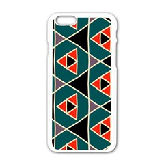 Triangles In Retro Colors Patternapple Iphone 6/6s White Enamel Case by LalyLauraFLM