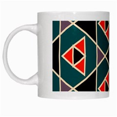 Triangles In Retro Colors Pattern White Mug by LalyLauraFLM