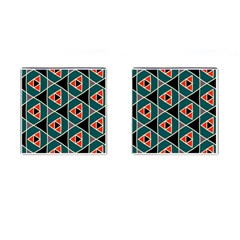 Triangles In Retro Colors Pattern			cufflinks (square) by LalyLauraFLM