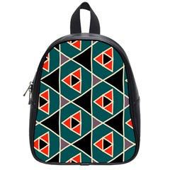 Triangles In Retro Colors Pattern			school Bag (small) by LalyLauraFLM