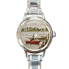 Santa Lucia River In Montevideo Uruguay Round Italian Charm Watches by dflcprints