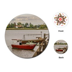 Santa Lucia River In Montevideo Uruguay Playing Cards (round)  by dflcprints