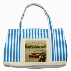 Santa Lucia River In Montevideo Uruguay Striped Blue Tote Bag  by dflcprints