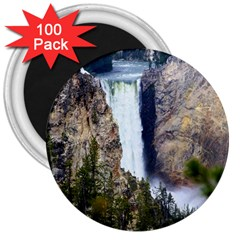 Yellowstone Waterfall 3  Magnets (100 Pack) by trendistuff